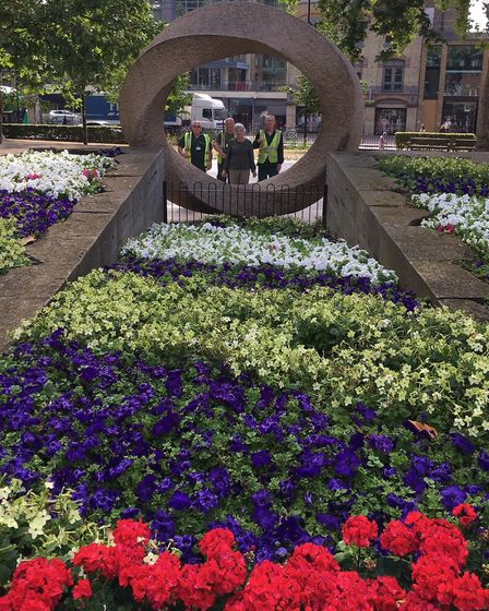 Floral tribute planted in Islinton Memorial Green to honour centenary of womens suffrage. Picture: I