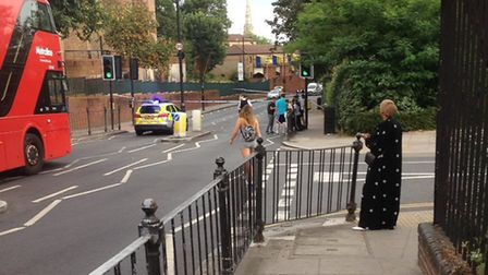 Hornsey Road was taped off by police. Picture: @999London