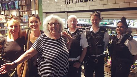 Lousie Prendergast, Charlotte Sones with Gina James and officers from Wembley's Response Team A at E