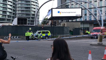 The scene of the crash at Old Street roundabout. Picture: Jon Grant