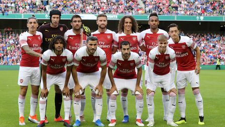 Arsenal line up before the pre-season friendly match at the Aviva Stadium, Dublin, without Aaron Ram