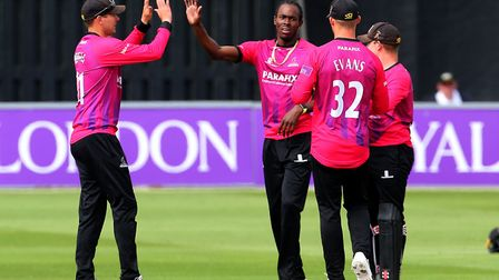 Sussex bowler Jofra Archer (centre) celebrates taking a wicket (pic Mark Kerton/PA)