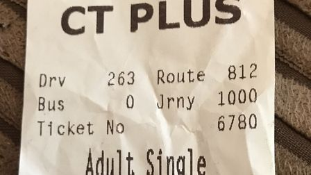 The 812 bus ticket from the journey where the driver allegedly crashed. Picture: Melissa Bradshaw