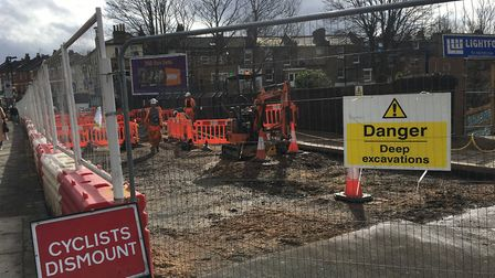 The roadworks in Crouch Hill earlier this year where the railway bridge was raised. Picture: Sam Gel