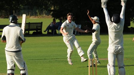 Highgate celebrate taking a wicket in the Middlesex County League (pic: Michael Clarke/Highgate CC).