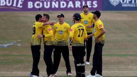 Gloucestershire players celebrate a wicket (pic Nick Wood/TGS Photo)