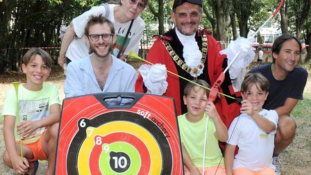 Mayor Dave Poyser gets stuck in at the fun day. Picture: Keith Emmitt