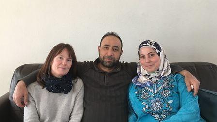 Mohamed and Layla Alamed pictured earlier this year with landlord Yvette Mahon. Picture: Sam Gelder