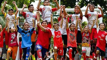 Youngsters in Indonesia helped by the Arsenal Foundation. CREDIT ARSENAL FC