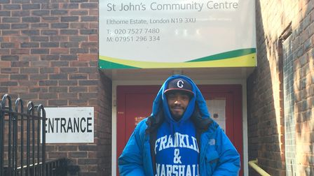 Shawdon Smith, of Ambitious Academy, outside the community centre in Elthorne Estate. Picture: Lucas