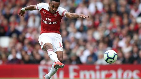 Arsenal's Pierre-Emerick Aubameyang has a shot on goal during the Premier League match at the Emirat