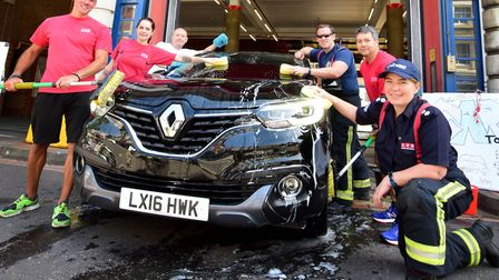 Fire fighters at Islington Fire Station set up a Car Wash on 11.08.18. to raise money for the Firefi