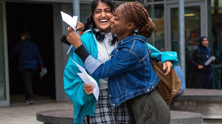 City and Islington College students celebrating receiving their A-level results. Photo by Alex Merz