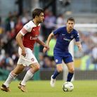 Arsenal's Sokratis Papastathopoulos on the ball against Chelsea. PA