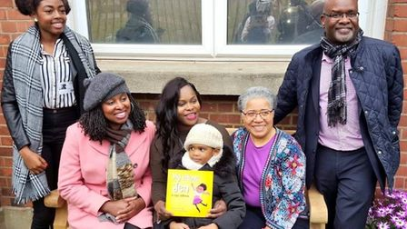 A publicity shot for the Sickle Cell Society with Simonne Kerr (centre) and, left to right, children
