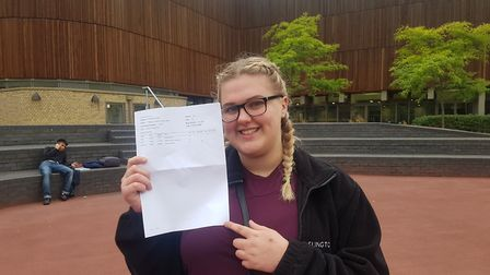 Abi Crowther with her results, who is off to study psychology at Queen Mary's University
