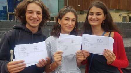 Hal Crampin, Hana Sanei and Sahar Seidl with their A Level results at the City of London Academy Hig