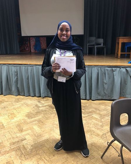 Preston Manor Sixth Form student Samiya Mohamud collecting her A-level results. Photo by Preston Man