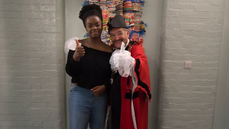 The mayor of Islington, Dave Poyser, and Abigail Tshola from Central Foundation Boys School are in g