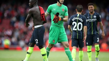Arsenal goalkeeper Petr Cech had a difficult afternoon against Premier League champions Manchester C