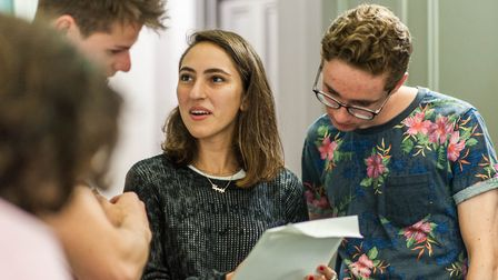 Arpi Saruhanyan, of Hampstead celebrating her A*AA grades with Barney Thorpe of Islington (AAA) and