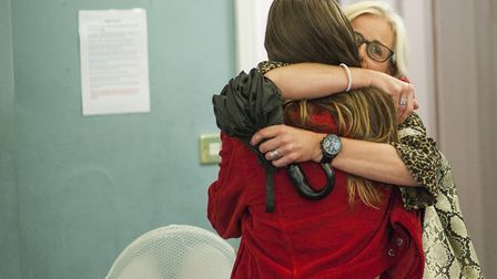 Florence Koller, of Hampstead congratulated by her mum on gaining (ABB) and place at University of L