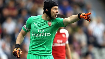 Arsenal goalkeeper Petr Cech reacts during the Premier League match at St James' Park, Newcastle (pi