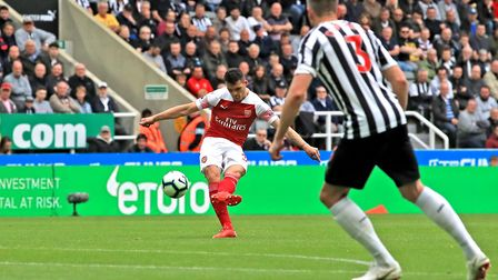 Arsenal's Granit Xhaka scores his side's first goal of the game during the Premier League match at S
