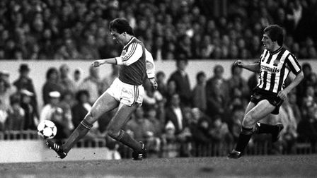 Arsenal's David O'Leary beats Peter Beardsley of Newcastle United to the ball during a match at Hig