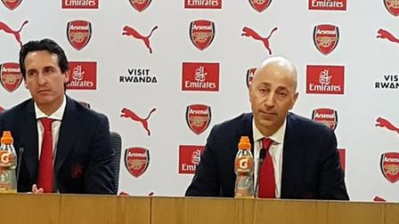 Unai Emery with Ivan Gazidis at the unveiling of the new Arsenal coach at the Emirates. CREDIT: @lay