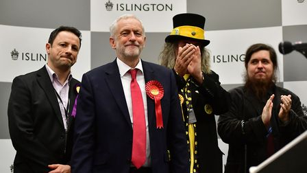 Labour leader Jeremy Corbyn, pictured at the Sobell Leisure Centre count in 2017, easily saw off com