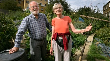 Jack and Lucy Rickards on their Quill Street Allotment. Picture: Polly Hancock