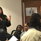 Dawn Butler speaking at a Windrush compensation consultation meeting in Willesden