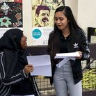 Students celebrating receiving their GCSE results at City of London Academy, Highgate Hill. Photo by