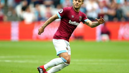 West Ham United's Jack Wilshere during the Premier League match at London Stadium against Bournemout