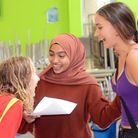 Students at Elizabeth Garrett Anderson School collecting their GCSE results. Photo by Chris Wood