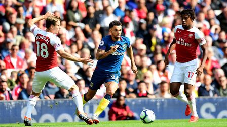 West Ham United's Ryan Fredericks in action during the Premier League match at the Emirates Stadium,