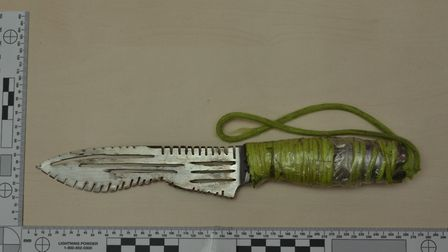 A knife found in Pinnock's home.