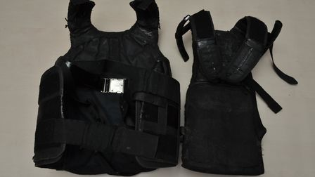 Body armour seized from Pinnock's home.