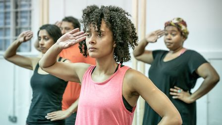 Action from Dance Nation rehearsals. IMAGE: Marc Brenner