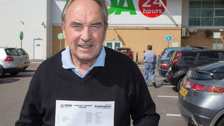 'A bloody liberty!': John Wood received a fine for parking in Asda for more than six hours. He actua