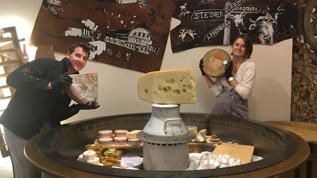 Marcello Barsini shows off his cheese in the newly opened Jumi Cheese shop in Newington Green. Pictu