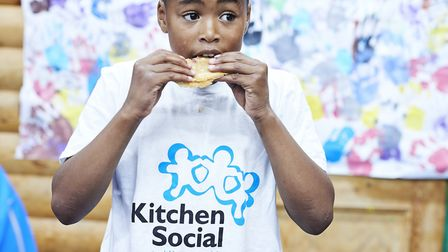 Young boy at kitchen social club at Timbuktu adventure playground. Picture: The Felix Project