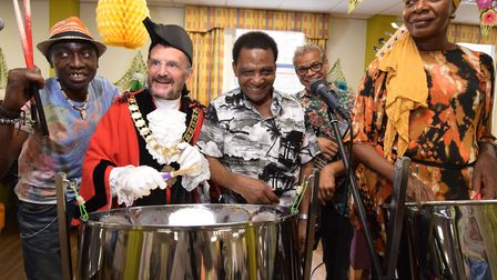 Mayor Dave Poyser joins the Whittington Steel Band during the celebrations. Picture: Polly Hancock