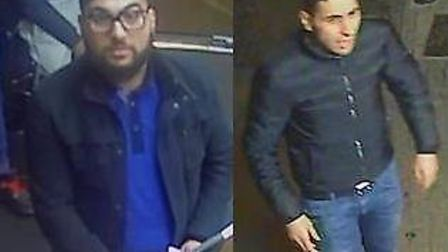 Police want to speak to these men after a pair of assaults in a Harlesden kebab shop. Picture: Met P