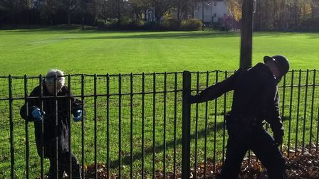 A weapon sweep at Wray Crescent Open Space last year. Picture: Rhiannon Long