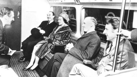 Queen Elizabeth II opening the line. With her, from left; Maurice Holmes, chairman of London Transpo