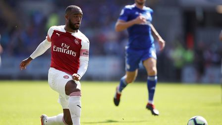 Arsenal's Alexandre Lacazette in action during the Premier League match at the Cardiff City Stadium.