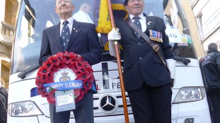 Wreath layer Tony Walton and standard bearer Shaun Campbel of the Wembley and Sudbury branch of the
