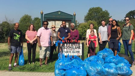 Litter pickers from Kingsbury and Colindale spent two hours filling 30 bags of rubbish in Roe Green